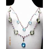 Buy cheap 18K Gold Handmade Necklace in Blue Topaz, Green Amethyst, Amethyst and Iolite. from wholesalers