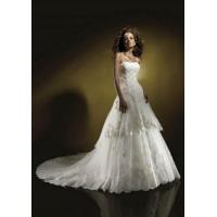Buy cheap Organza Beaded Strapless Neckline with A line Skirt and Chapel Train Top Sell Bridal Dress WD-0108 from wholesalers