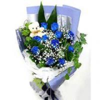 Buy cheap Blue Roses Bouquet And Mini Plush Teddy Bear from wholesalers