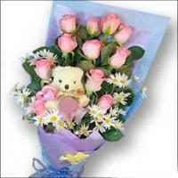 Buy cheap Pink Roses Bouquet And Mini Plush Teddy Bear from wholesalers