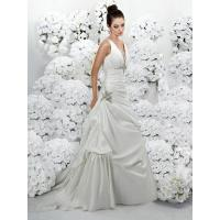 Buy cheap Straps V-neck A-line Beaded Taffeta Bridal Dress from wholesalers