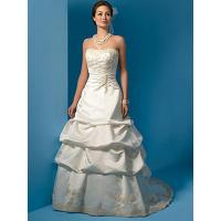 Buy cheap A-line Strapless Princess Beaded Embroidery Taffeta Pleated Bridal Wedding Dress from wholesalers