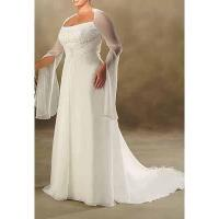 Buy cheap Column Sleeves Applique Beaded Plus Size Wedding Dress from wholesalers