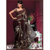 Buy cheap DESIGNER SAREES Coffee Brown Style Saree from wholesalers