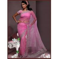 Buy cheap DESIGNER SAREES Pink Sophisticated Net saree from wholesalers