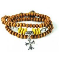 Buy cheap Wood Beads Leather Bracelet Bangle Pendant Cross Charm M0007 from wholesalers
