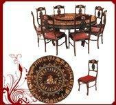 Buy cheap Rosewood Round Revolving Dining Table with Eight Chairs-Dasara Design from wholesalers