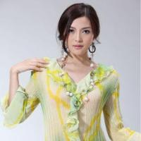 Buy cheap Beautiful Chain Decor Top Green lace Long sleeve shirts from wholesalers