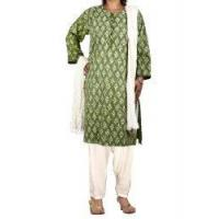 Buy cheap Women's Salwar Kameez Green Kameez Off-White Salwar Dupatta Indian Dress for Women from wholesalers