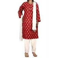 Buy cheap Women's Salwar Kameez Red Kameez Off-White Salwar Dupatta Indian Costume for Women from wholesalers