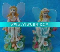China Artificial Crafts(970) Flower fairy polyresin figurine with wing on sale