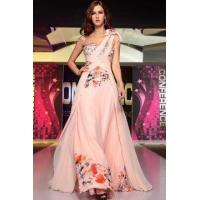 Buy cheap Evening Dress Pink Georgette Printed One Shoulder Evening Dress from wholesalers