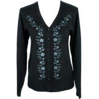 Buy cheap Womens Size XL 14/16 Clothing Black Floral Vine Sweater Cardigan Top Jon Anna NY from wholesalers