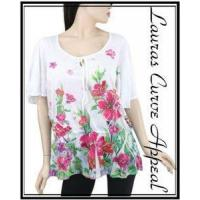 Buy cheap Womens DRESS BARN White Short Sleeve Career/Casual Floral Top Blouse SMALL 6/8 from wholesalers