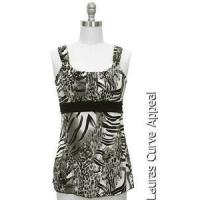 Buy cheap Womens Size SMALL 6/8 Gray Black White Tiger Tank Top Blouse Jon Anna New York from wholesalers