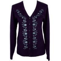 Buy cheap Womens Clothes Size LARGE 12/14 Purple Floral Vine Sweater Cardigan Top Jon Anna from wholesalers