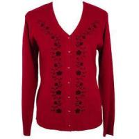 Buy cheap Womens Red Floral Vine Sweater Cardigan Top Size MEDIUM 10/12 Jon Anna Clothing from wholesalers