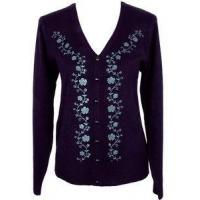 Buy cheap Womens Clothing Size MEDIUM 10/12 Purple Floral Vine Sweater Cardigan Top from wholesalers