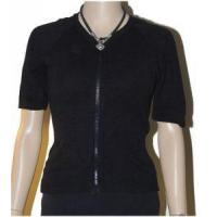 Buy cheap Cotton Emporium Size LARGE L Black Zipper Sweater Cardigan Top Short Sleeve from wholesalers
