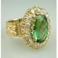 Buy cheap Antique Victorian Gold Tourmaline Mine Cut Diamond Engagement Ring Vintage Bridal Jewelry from wholesalers