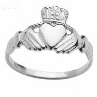 Buy cheap Irish Claddagh 9ct 9k Solid White Gold Ring Size P 7.75 W41054 from wholesalers