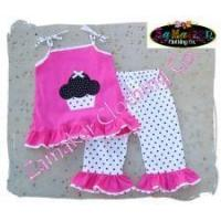 Buy cheap Girl Pink Tunic Birthday Cupcake Outfit Set from wholesalers