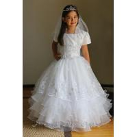 Buy cheap Communion Dress #AG1432Embroidered Organza Overlay Taffeta Communion Dress. from wholesalers