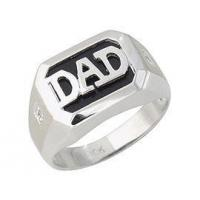 Buy cheap Onyx & Diamond DAD Ring - 10K White Gold from wholesalers