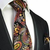Buy cheap Yellow, Red and Black Paisley Necktie and Pocket Square by Paul Malone . 100% Silk (553H) from wholesalers