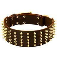 Buy cheap Spiked Collars Extra Wide Leather Dog Collar with 5 Rows of Spikes from wholesalers