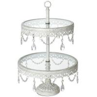 Buy cheap Jenny 2-Tier Glass Top White Cake or Cupcake Stand from wholesalers