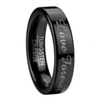 Buy cheap Men's Polished Black Tungsten Wedding Band with Love Forever | 6mm from wholesalers
