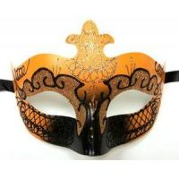 Buy cheap MASKS ORANGE Black Scroll Venetian Mask Masquerade Costume Prom Dance Men Woman from wholesalers