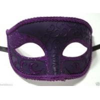Buy cheap MASKS VENETIAN half JESTER MASK masquerade DARK PURPLE glitter fancy dress costume from wholesalers