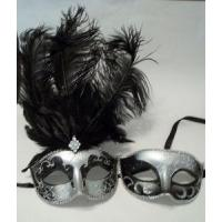 Buy cheap MASKS Silver Black feather His Hers Couple Combo Masquerade Mardi Gras Masks Man Woman from wholesalers