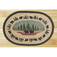 Buy cheap Oval Hand Printed Wilderness Bear Braided Earth Rug from wholesalers