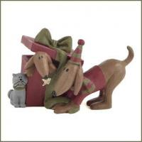 Buy cheap Blossom Bucket DOGS and CAT with CHRISTMAS PRESENT Figurine from wholesalers