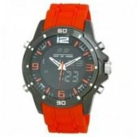 Buy cheap Henley Dual Time Analogue LCD Digital Watch Orange Flexi Silicone Strap from wholesalers