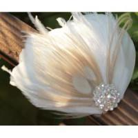 Buy cheap KISSPAT Bridal Fascinator Clip,Wedding Headpieces,Feather Accessory with White Dimaond Jewel product