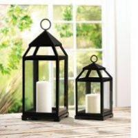 China Contemporary Black Metal Candle Lantern on sale