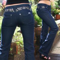 Buy cheap K559 Sexy Dark Blue Women's Studded Flared Jeans from wholesalers