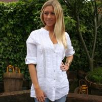 Buy cheap K569 Sexy Ladies Unique White Linen Shirt Blouse from wholesalers