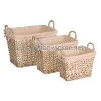 Buy cheap Willow wicker lined storage baskets sets 3 from wholesalers