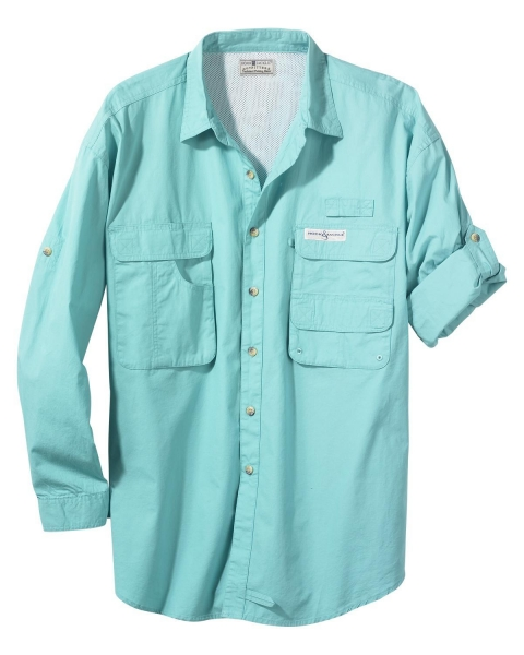 Mens shirts hook tackle mens gulf stream button down for Button down fishing shirts