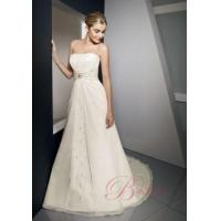 Buy cheap Plus Size Wedding Dress A-line Strapless Embroidery Satin Chiffon Wedding Gown EM3304 from wholesalers