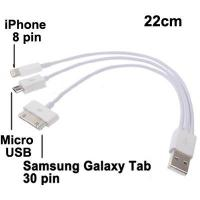 Buy cheap Cable 3 in 1 USB 2.0 to iPhone 8 Pin,Micro USB Pin Multi-functional Dual USB Charger Data Sync Cable from wholesalers