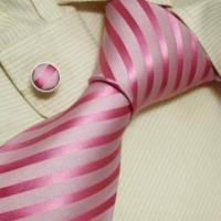 Buy cheap A1009 NEW Designer Hand Made White Pink Neck Tie Cufflinks with from wholesalers