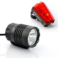 Buy cheap Bicycle Headlight + Headlamp + Rear Tail Light + Laser Guide Light (1800 Lumens, 4400mAh) from wholesalers