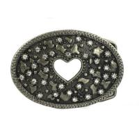 Buy cheap Oval with Cut-out Heart Decoration Rhinestone Belt Buckle from wholesalers