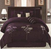 Buy cheap Faux Silky Dark Purple Embroidery Comforter Set from wholesalers